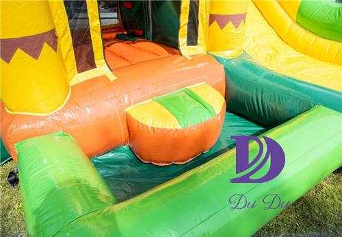 jungle theme inflatable bouncers with a small pool for sale