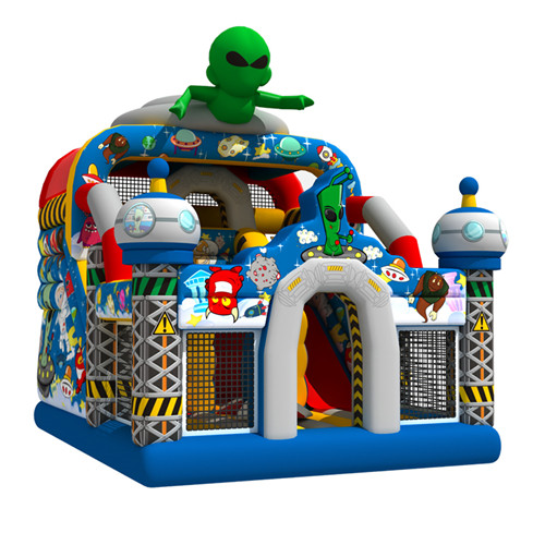 The alien theme children's inflatable slide for sale
