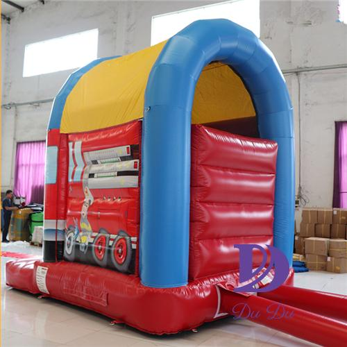 Mini type fire truck theme inflatable bouncers for sale