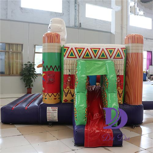 Indians theme inflatable castle with slide for sale