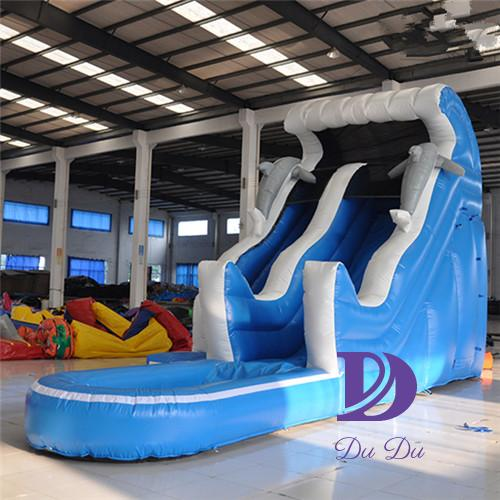 New design dolphin theme cheap inflatable water slides for sale